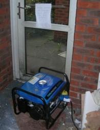Photo shows the petrol generator