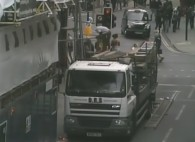 Photo is an extract from the CCTV footage showing the unsafe scaffolding work
