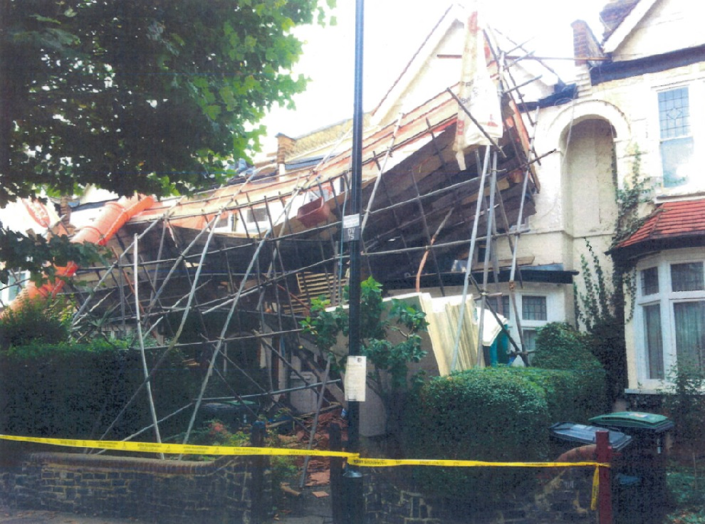 Photo shows the aftermath of the scaffold collapse
