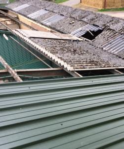 Fragile fibre cement roof sheet.