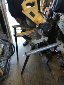 Unguarded mitre saw